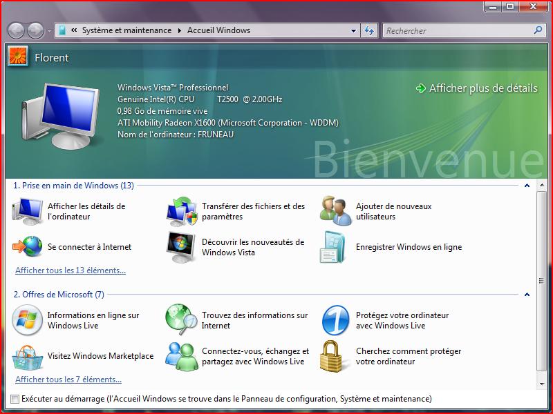 Fenêtre d'accueil de Windows Vista