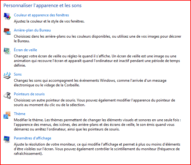 Réglages de l'apparence de Windows